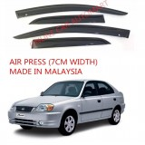 AG Air Press Door Visor Wind Deflector (Made in Malaysia) - Small 7 cm Width for HYUNDAI ACCENT YR2004