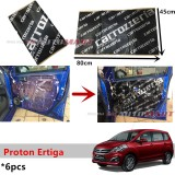 6PCS Carrozzeria High Quality Sound Damping Car Bonnet Door Sound Proof Proofing Deadening Insulation For Proton Ertiga