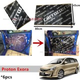 6PCS Carrozzeria High Quality Sound Damping Car Bonnet Door Sound Proof Proofing Deadening Insulation For Proton Exora
