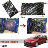 6PCS Carrozzeria High Quality Sound Damping Car Bonnet Door Sound Proof Proofing Deadening Insulation For Proton Inspira