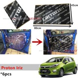 6PCS Carrozzeria High Quality Sound Damping Car Bonnet Door Sound Proof Proofing Deadening Insulation For Proton Iriz
