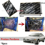 6PCS Carrozzeria High Quality Sound Damping Car Bonnet Door Sound Proof Proofing Deadening Insulation For Proton Perdana