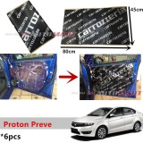 6PCS Carrozzeria High Quality Sound Damping Car Bonnet Door Sound Proof Proofing Deadening Insulation For Proton Preve