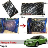 6PCS Carrozzeria High Quality Sound Damping Car Bonnet Door Sound Proof Proofing Deadening Insulation For Proton Putra