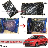 6PCS Carrozzeria High Quality Sound Damping Car Bonnet Door Sound Proof Proofing Deadening Insulation For Proton Saga 2016