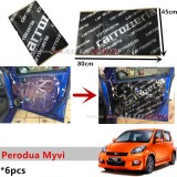 6PCS Carrozzeria High Quality Sound Damping Car Bonnet Door Sound Proof Proofing Deadening Insulation For Perodua Myvi Yr 2005
