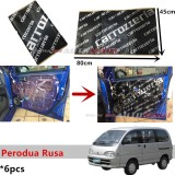 6PCS Carrozzeria High Quality Sound Damping Car Bonnet Door Sound Proof Proofing Deadening Insulation For Perodua Rusa