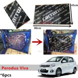 6PCS Carrozzeria High Quality Sound Damping Car Bonnet Door Sound Proof Proofing Deadening Insulation For Perodua Viva