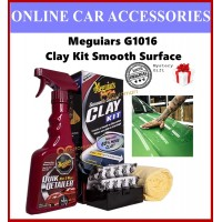 ( Free GIft ) Meguiars Meguiar's G1016 Smooth Surface Clay Kit ( Set With Clay Bars + 473ml Quik Detailer + Microfibre )