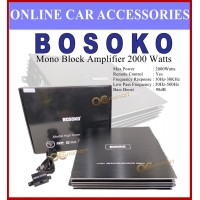 Bosoko MonoBlock Amplifer 2000 Watts With Bass Remote Control Mono Block Amplifier for Subwoofer