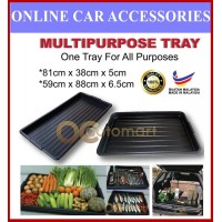 Multi Use Car Boot Tray Plastic/Multipurpose Wet Dry Black/Stall Tray Vegetable & Fruit Tray Car Rear Boot Tray